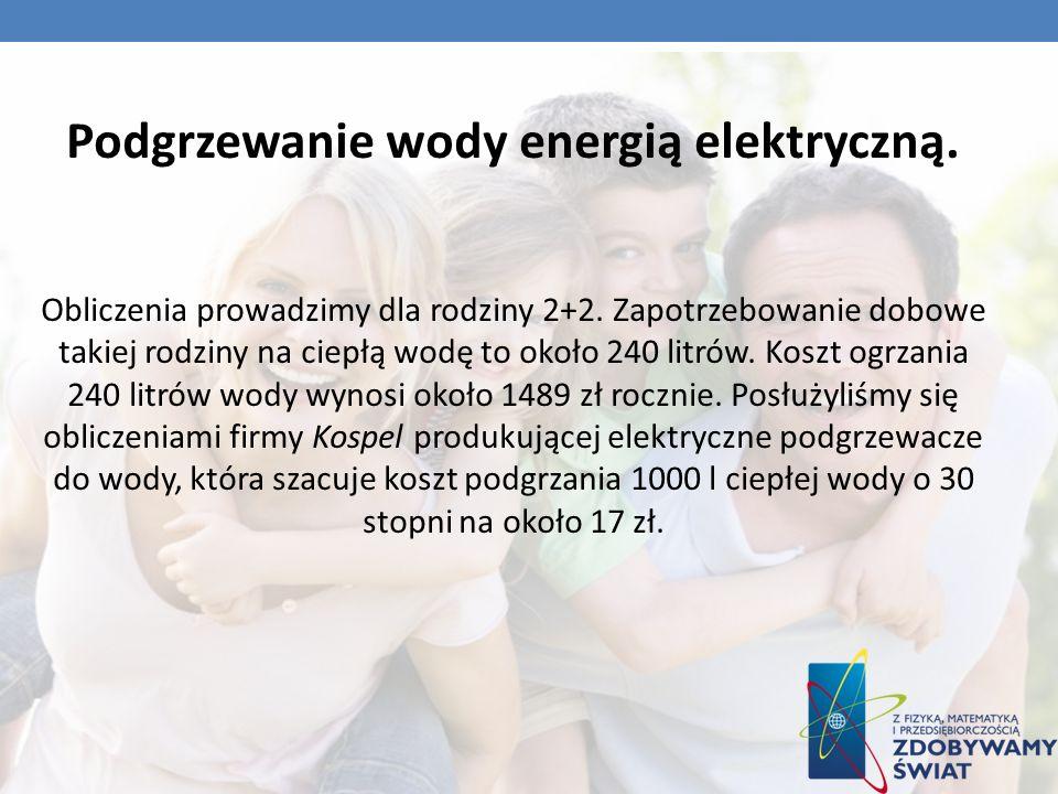 Podgrzewanie wody energią elektryczną. Obliczenia prowadzimy dla rodziny 2+2. Zapotrzebowanie dobowe takiej rodziny na ciepłą wodę to około 240 litrów