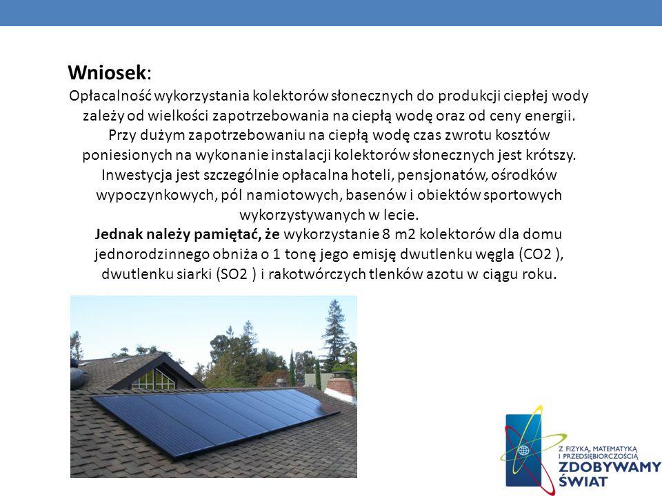 Wniosek: Opłacalność wykorzystania kolektorów słonecznych do produkcji ciepłej wody zależy od wielkości zapotrzebowania na ciepłą wodę oraz od ceny en