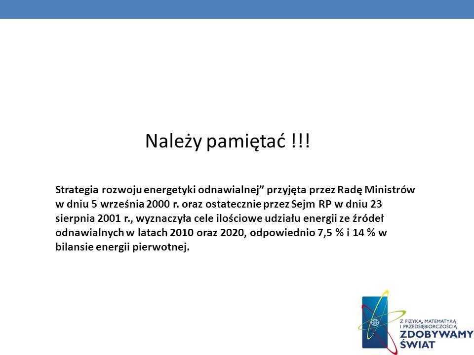 Strategia rozwoju energetyki odnawialnej przyjęta przez Radę Ministrów w dniu 5 września 2000 r. oraz ostatecznie przez Sejm RP w dniu 23 sierpnia 200