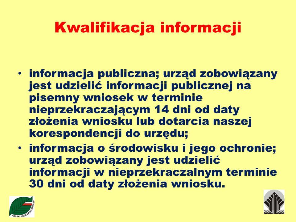 Kwalifikacja informacji informacja publiczna; urząd zobowiązany jest udzielić informacji publicznej na pisemny wniosek w terminie nieprzekraczającym 1