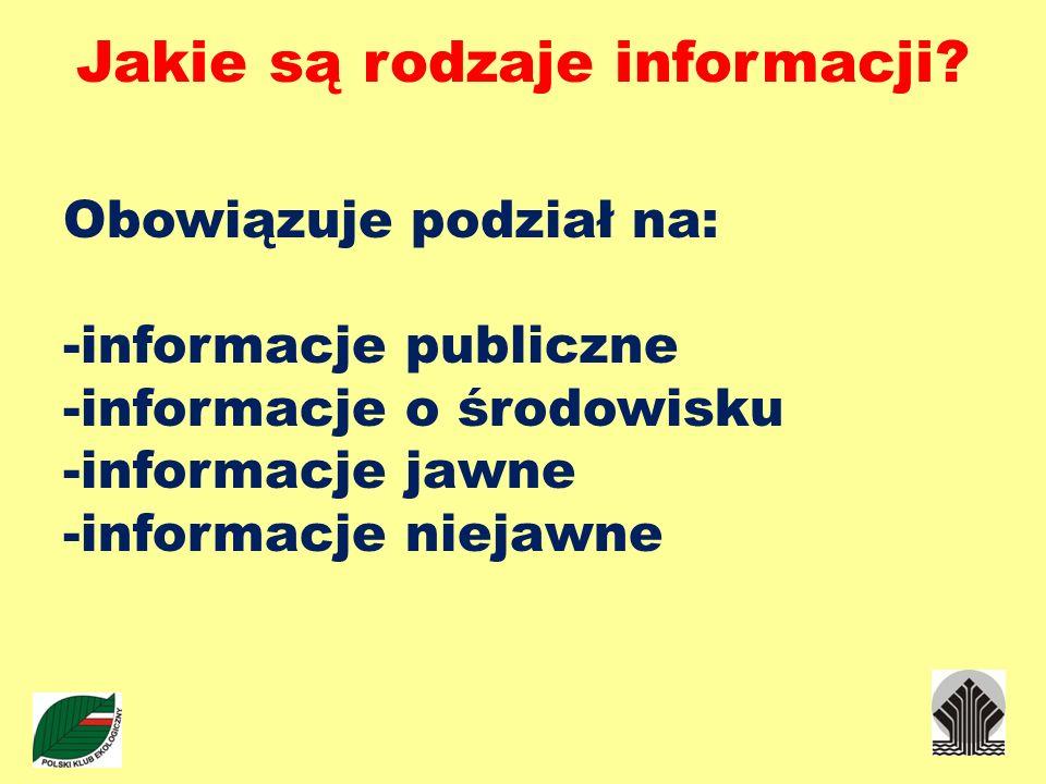 Jakie są rodzaje informacji? Obowiązuje podział na: -informacje publiczne -informacje o środowisku -informacje jawne -informacje niejawne