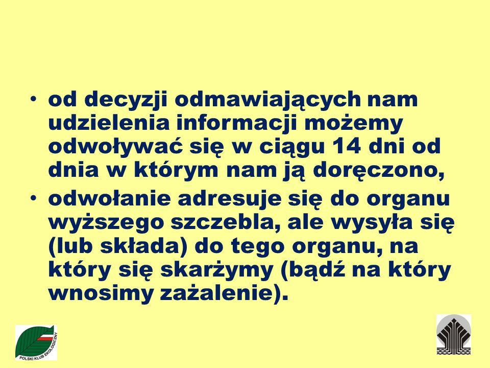 Ponadto, jeżeli: nie otrzymaliśmy informacji w odpowiednim terminie; możemy złożyć zażalenie na nieterminowe załatwienie sprawy.