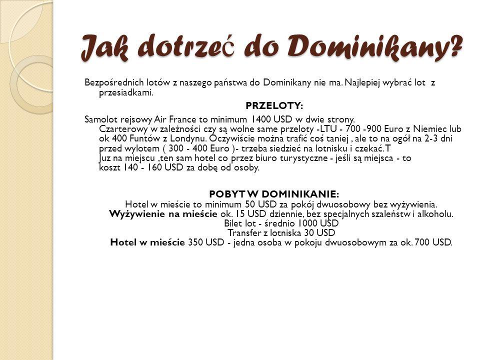 Jak dotrze ć do Dominikany? Bezpośrednich lotów z naszego państwa do Dominikany nie ma. Najlepiej wybrać lot z przesiadkami. PRZELOTY: Samolot rejsowy