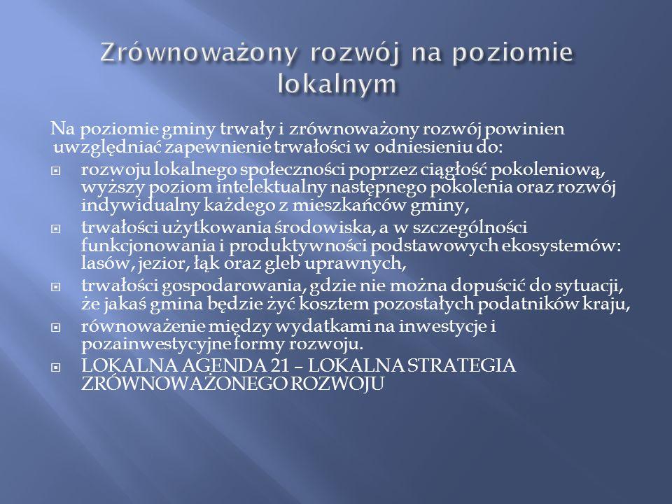 Konstytucja RP z 1997 roku w Art. 5. odwołuje sie do zrównoważonego rozwoju i ochrony środowiska: Rzeczpospolita Polska strzeże niepodległości i niena