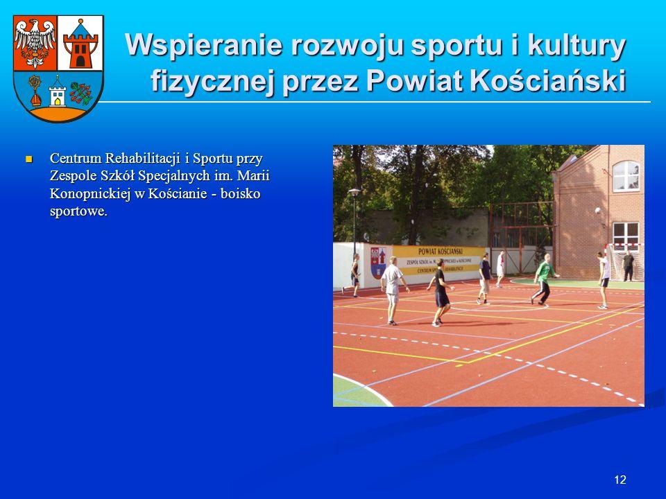 12 Wspieranie rozwoju sportu i kultury fizycznej przez Powiat Kościański Centrum Rehabilitacji i Sportu przy Zespole Szkół Specjalnych im. Marii Konop