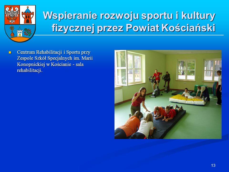13 Wspieranie rozwoju sportu i kultury fizycznej przez Powiat Kościański Centrum Rehabilitacji i Sportu przy Zespole Szkół Specjalnych im. Marii Konop