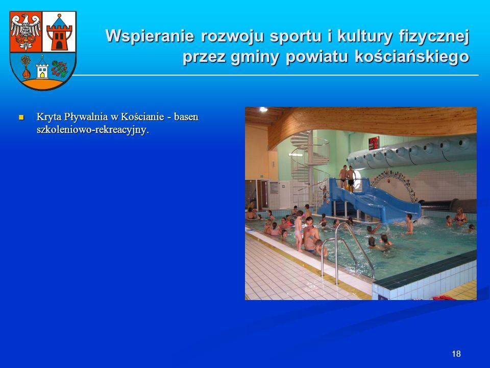 18 Kryta Pływalnia w Kościanie - basen szkoleniowo-rekreacyjny. Kryta Pływalnia w Kościanie - basen szkoleniowo-rekreacyjny. Wspieranie rozwoju sportu