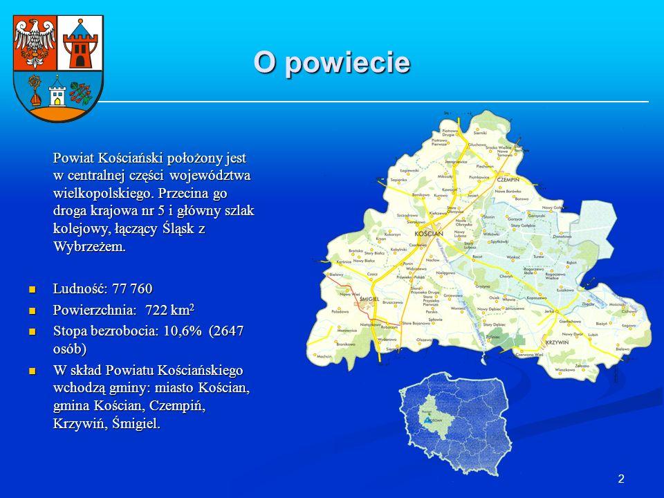 2 O powiecie Powiat Kościański położony jest w centralnej części województwa wielkopolskiego. Przecina go droga krajowa nr 5 i główny szlak kolejowy,