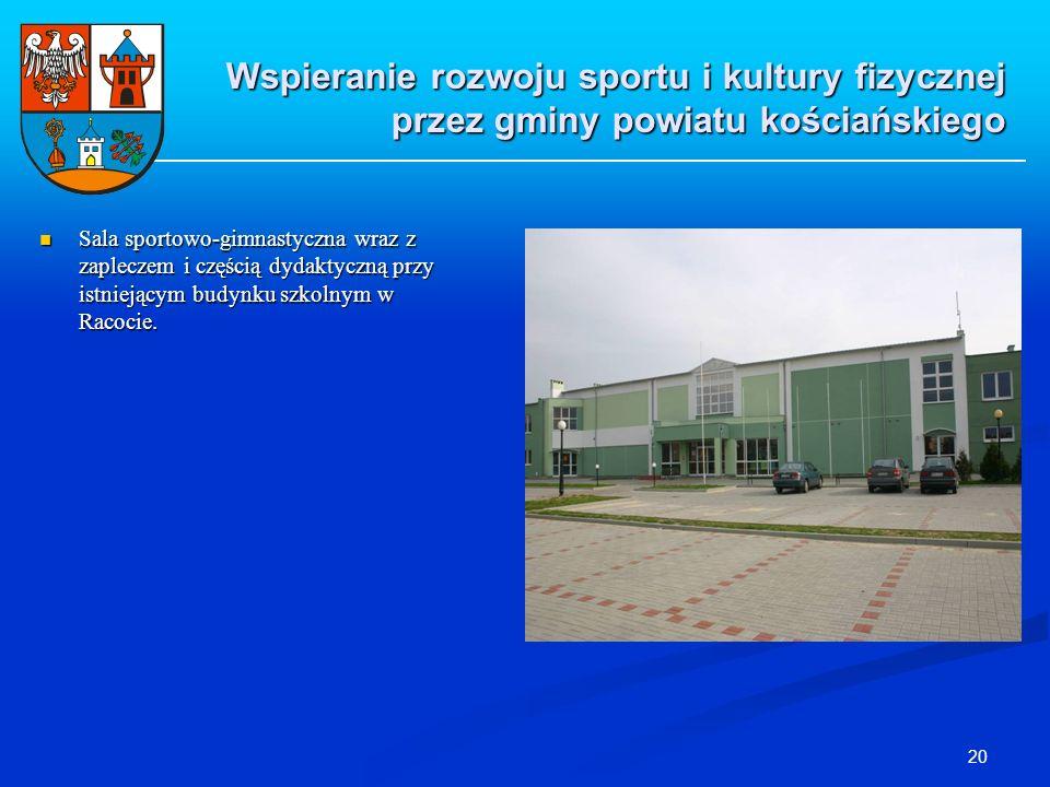 20 Wspieranie rozwoju sportu i kultury fizycznej przez gminy powiatu kościańskiego Sala sportowo-gimnastyczna wraz z zapleczem i częścią dydaktyczną p