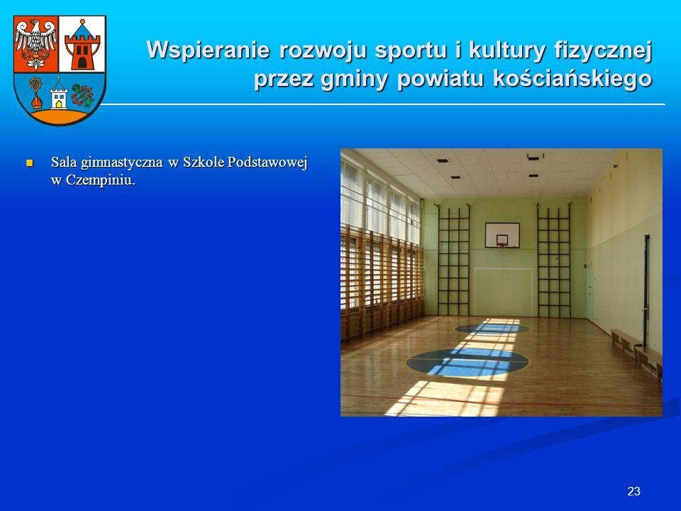 23 Sala gimnastyczna w Szkole Podstawowej w Czempiniu. Sala gimnastyczna w Szkole Podstawowej w Czempiniu. Wspieranie rozwoju sportu i kultury fizyczn