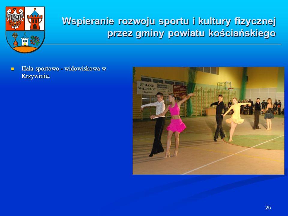 25 Hala sportowo - widowiskowa w Krzywiniu. Hala sportowo - widowiskowa w Krzywiniu. Wspieranie rozwoju sportu i kultury fizycznej przez gminy powiatu
