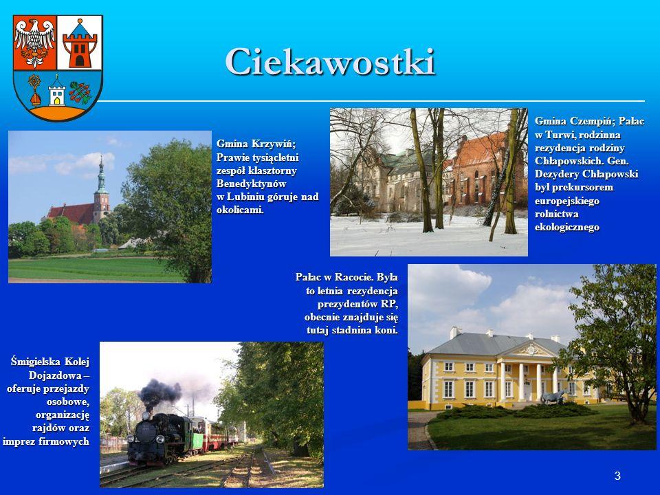 3 Ciekawostki Gmina Krzywiń; Prawie tysiącletni zespół klasztorny Benedyktynów w Lubiniu góruje nad okolicami. Gmina Czempiń; Pałac w Turwi, rodzinna