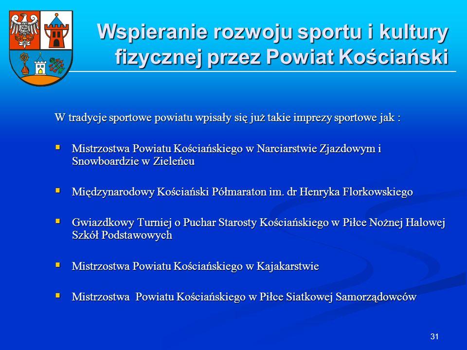 31 Wspieranie rozwoju sportu i kultury fizycznej przez Powiat Kościański W tradycje sportowe powiatu wpisały się już takie imprezy sportowe jak : Mist