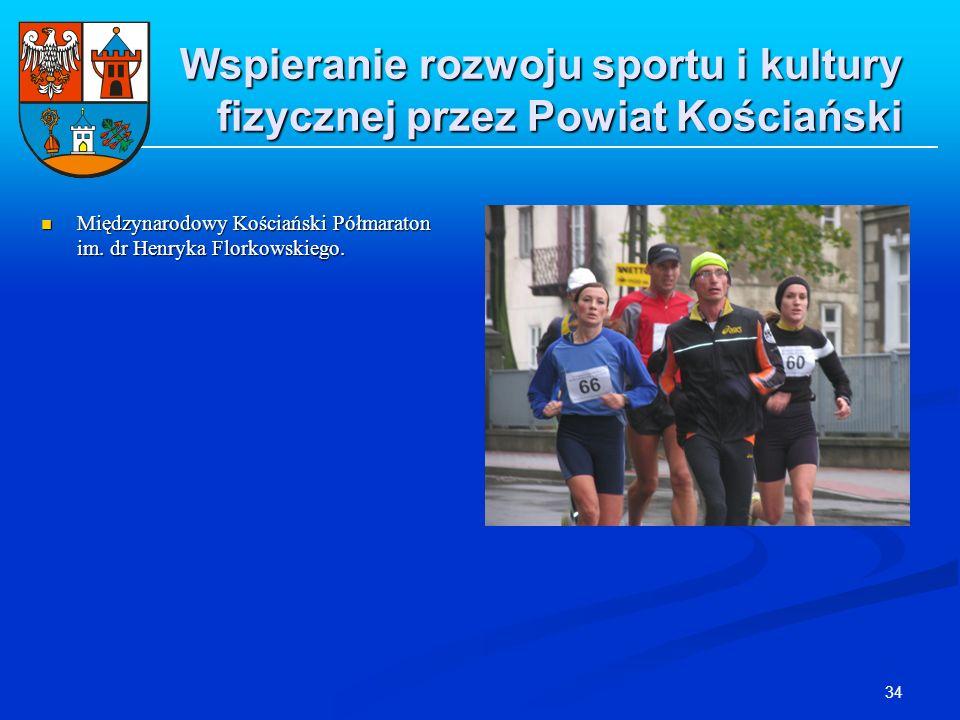 34 Wspieranie rozwoju sportu i kultury fizycznej przez Powiat Kościański Międzynarodowy Kościański Półmaraton im. dr Henryka Florkowskiego. Międzynaro