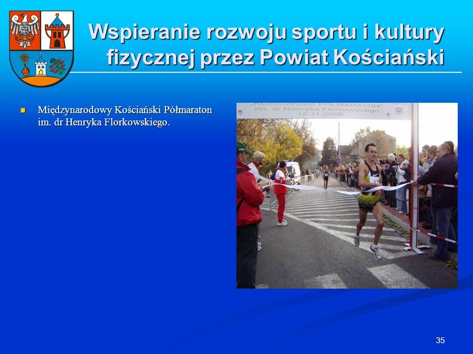 35 Wspieranie rozwoju sportu i kultury fizycznej przez Powiat Kościański Międzynarodowy Kościański Półmaraton im. dr Henryka Florkowskiego. Międzynaro