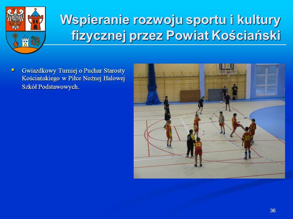 36 Wspieranie rozwoju sportu i kultury fizycznej przez Powiat Kościański Gwiazdkowy Turniej o Puchar Starosty Kościańskiego w Piłce Nożnej Halowej Szk
