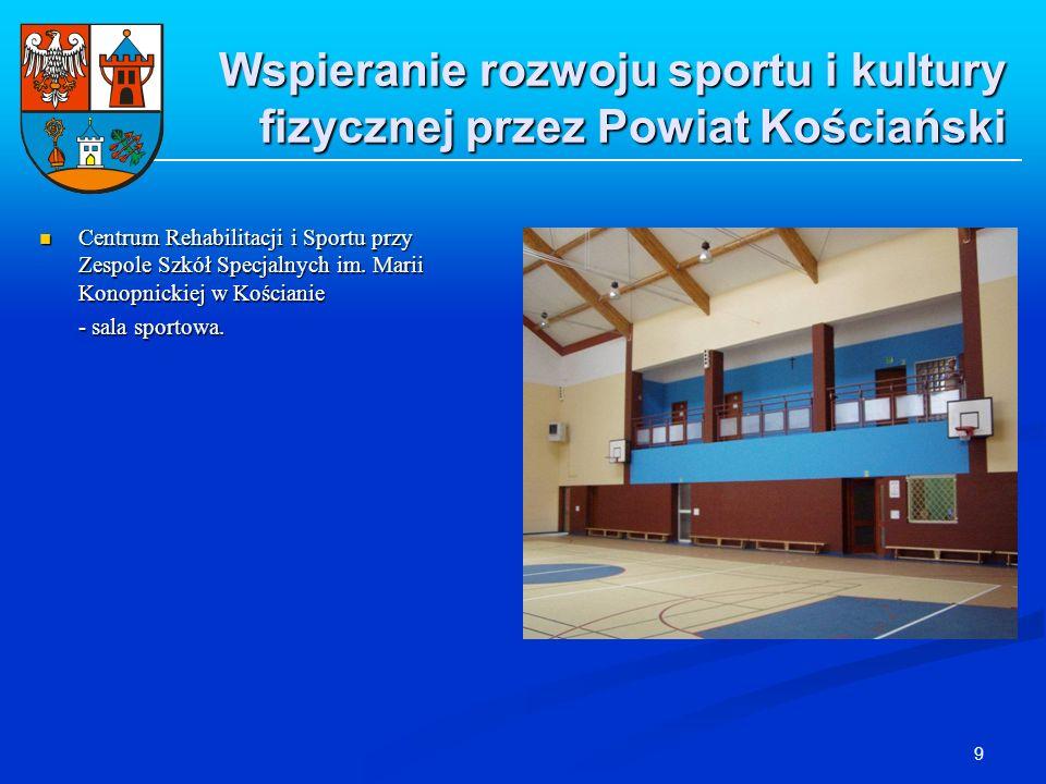 9 Wspieranie rozwoju sportu i kultury fizycznej przez Powiat Kościański Centrum Rehabilitacji i Sportu przy Zespole Szkół Specjalnych im. Marii Konopn