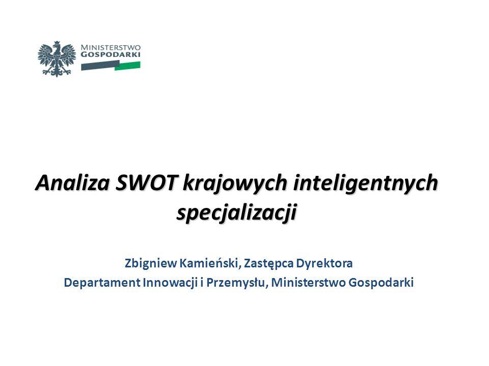 ETAP 1 – doprecyzowanie obszarów krajowych inteligentnych specjalizacji ETAP 2 – określenie niezbędnych przedsięwzięć umożliwiających realizację krajowych inteligentnych specjalizacji Technika analizy SWOT