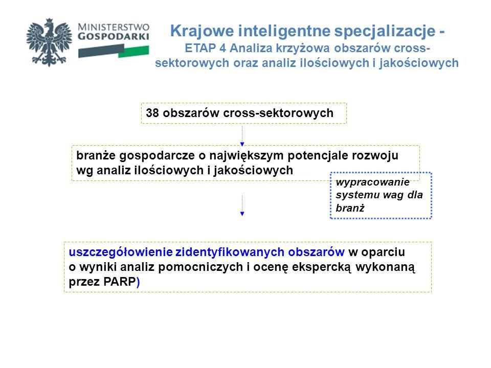 Krajowe inteligentne specjalizacje - ETAP 4 Analiza krzyżowa obszarów cross- sektorowych oraz analiz ilościowych i jakościowych 38 obszarów cross-sekt