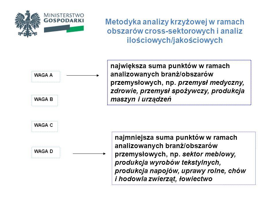 Metodyka analizy krzyżowej w ramach obszarów cross-sektorowych i analiz ilościowych/jakościowych WAGA A WAGA B WAGA C WAGA D największa suma punktów w