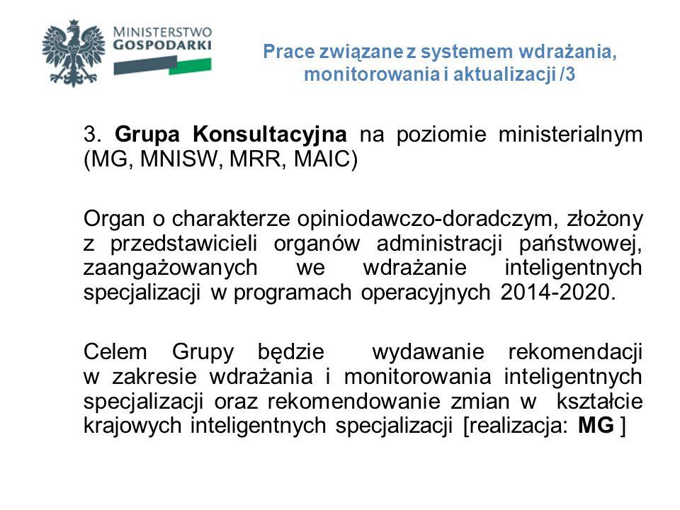 3. Grupa Konsultacyjna na poziomie ministerialnym (MG, MNISW, MRR, MAIC) Organ o charakterze opiniodawczo-doradczym, złożony z przedstawicieli organów