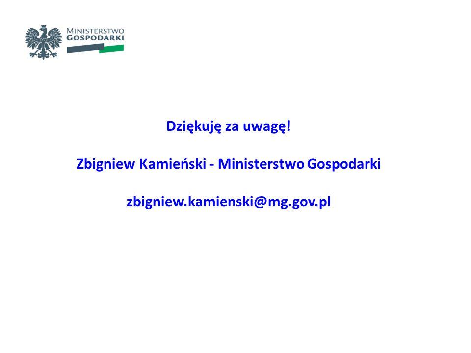 Dziękuję za uwagę! Zbigniew Kamieński - Ministerstwo Gospodarki zbigniew.kamienski@mg.gov.pl