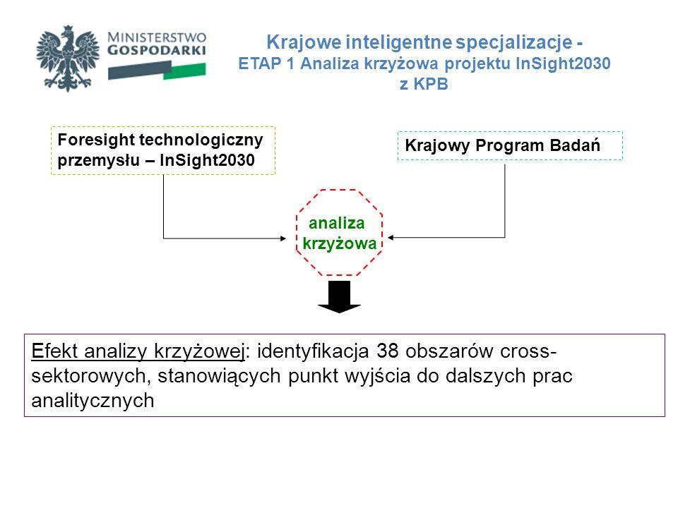 Przykładowe obszary cross-sektorowe: 1.Środki transportu przyjazne środowisku 2.Biotechnologie w przemyśle rolno-spożywczym 3.Inteligentne i energooszczędne budownictwo 4.Biowytwarzanie produktów leczniczych 5.Systemy ochrony zagrożeń cyberprzestrzennych 6.Mechatronika robotów i maszyn 7.Przestrzenne materiały wielofunkcyjne i samonaprawiające się Krajowe inteligentne specjalizacje - ETAP 1 Analiza krzyżowa projektu InSight2030 z KPB