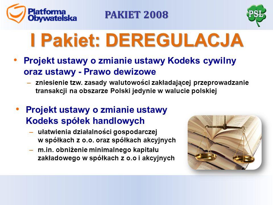 PAKIET 2008 I Pakiet: DEREGULACJA Projekt ustawy o zmianie ustawy Kodeks cywilny oraz ustawy - Prawo dewizowe –zniesienie tzw.