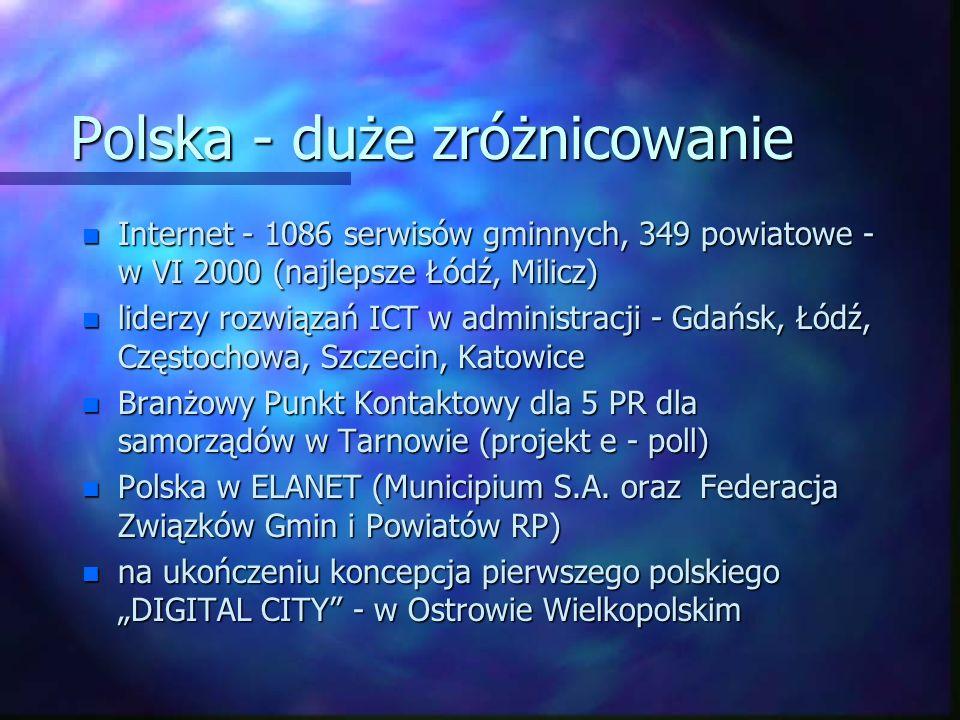 Polska - duże zróżnicowanie n Internet - 1086 serwisów gminnych, 349 powiatowe - w VI 2000 (najlepsze Łódź, Milicz) n liderzy rozwiązań ICT w administ