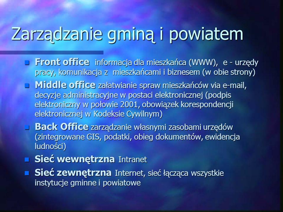 Zarządzanie gminą i powiatem n Front office informacja dla mieszkańca (WWW), e - urzędy pracy, komunikacja z mieszkańcami i biznesem (w obie strony) n Middle office załatwianie spraw mieszkańców via e-mail, decyzje administracyjne w postaci elektronicznej (podpis elektroniczny w połowie 2001, obowiązek korespondencji elektronicznej w Kodeksie Cywilnym) n Back Office zarządzanie własnymi zasobami urzędów (zintegrowane GIS, podatki, obieg dokumentów, ewidencja ludności) n Sieć wewnętrzna Intranet n Sieć zewnętrzna Internet, sieć łącząca wszystkie instytucje gminne i powiatowe