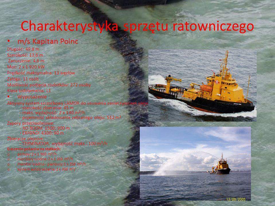 Charakterystyka sprzętu ratowniczego m/s Kapitan Poinc Długość: 49,8 m Szerokość: 13,6 m Zanurzenie: 4,6 m Moc: 2 x 1 920 kW Prędkość maksymalna: 13 w