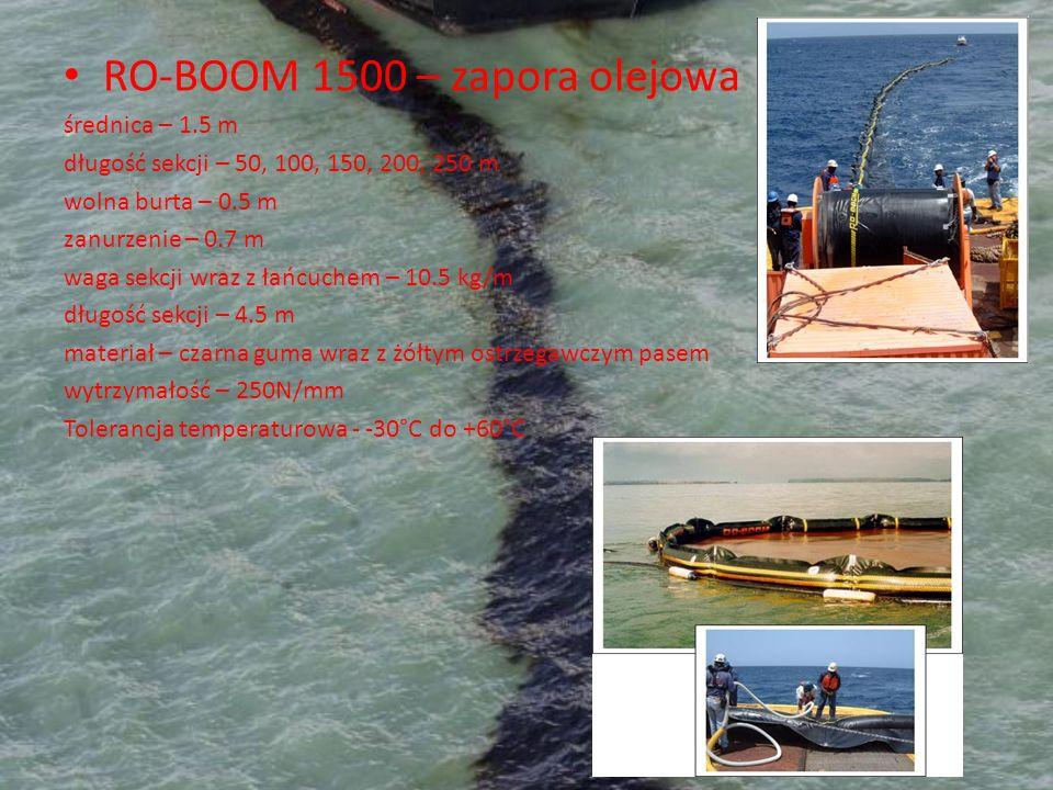 RO-BOOM 1500 – zapora olejowa średnica – 1.5 m długość sekcji – 50, 100, 150, 200, 250 m wolna burta – 0.5 m zanurzenie – 0.7 m waga sekcji wraz z łań