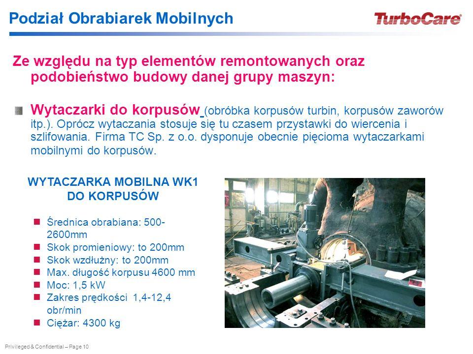 Privileged & Confidential – Page 10 Podział Obrabiarek Mobilnych Ze względu na typ elementów remontowanych oraz podobieństwo budowy danej grupy maszyn