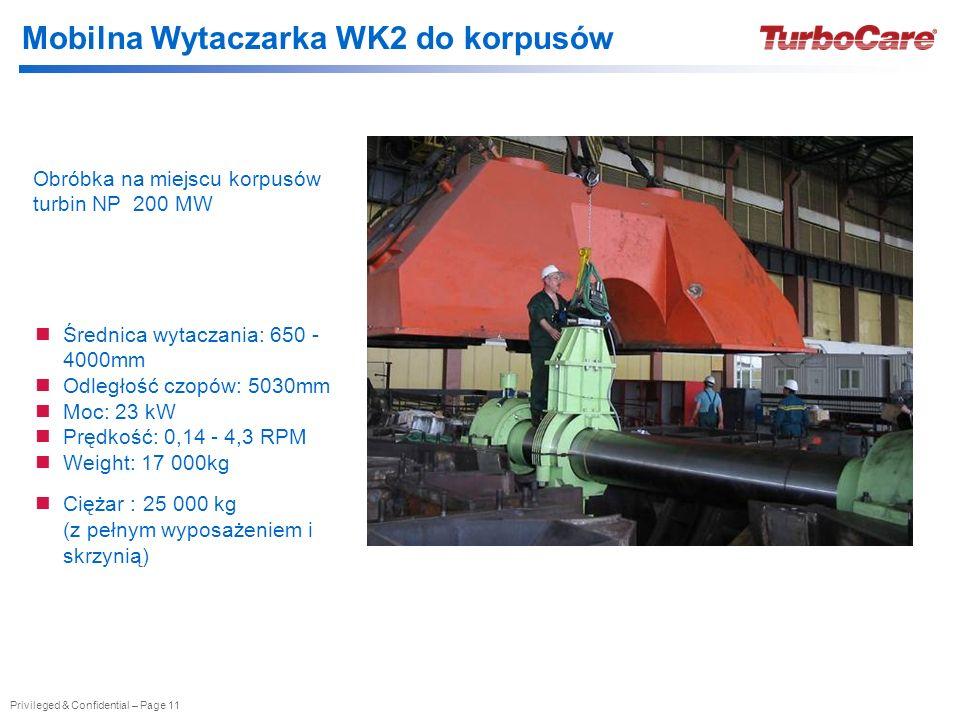 Privileged & Confidential – Page 11 Obróbka na miejscu korpusów turbin NP 200 MW Średnica wytaczania: 650 - 4000mm Odległość czopów: 5030mm Moc: 23 kW