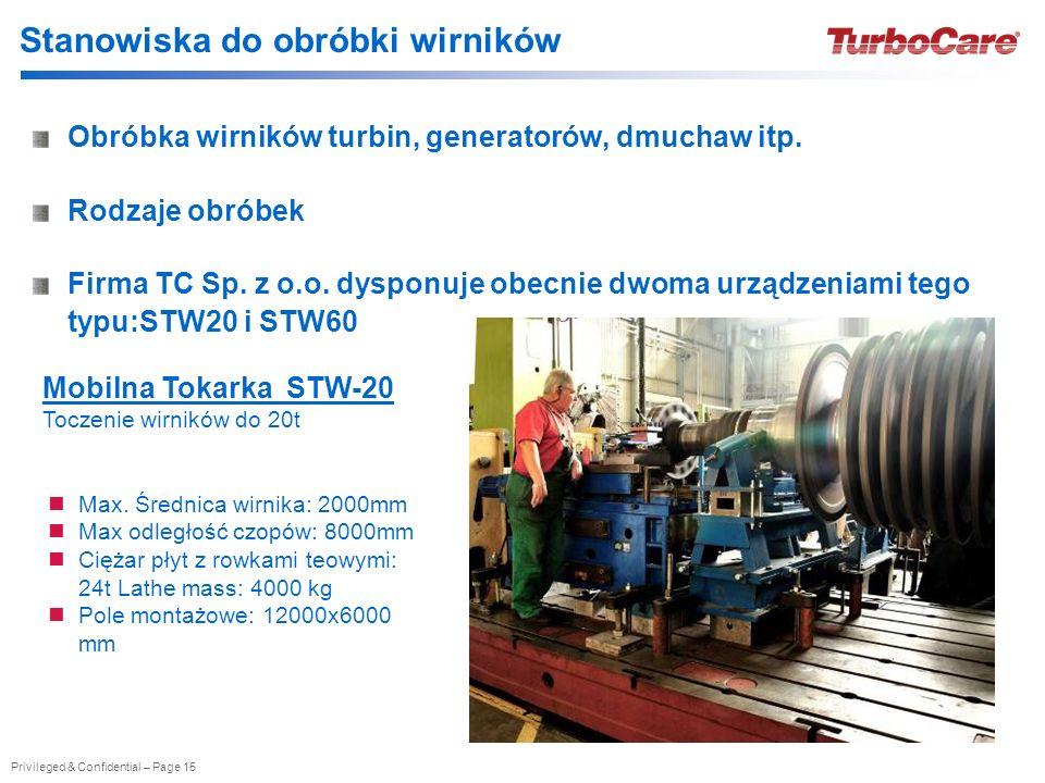 Privileged & Confidential – Page 15 Stanowiska do obróbki wirników Obróbka wirników turbin, generatorów, dmuchaw itp. Rodzaje obróbek Firma TC Sp. z o