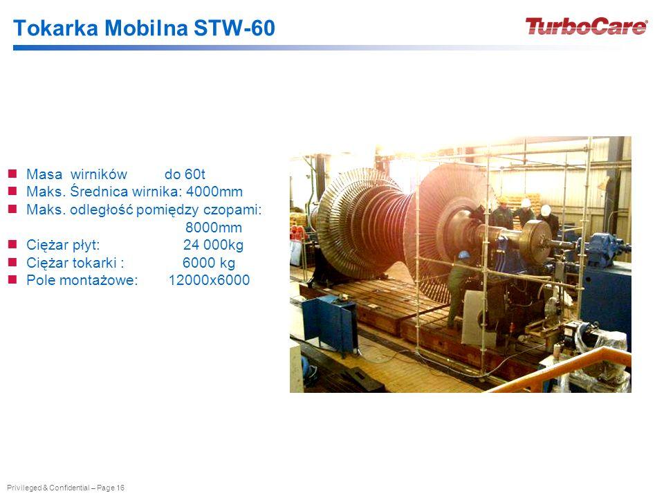 Privileged & Confidential – Page 16 Tokarka Mobilna STW-60 Masa wirników do 60t Maks. Średnica wirnika: 4000mm Maks. odległość pomiędzy czopami: 8000m