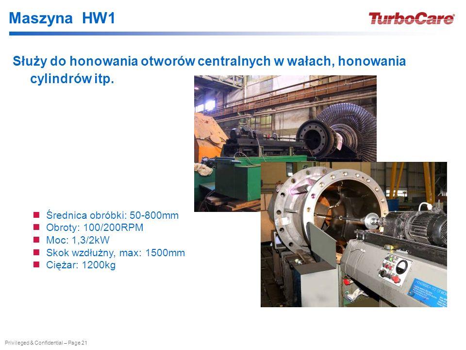Privileged & Confidential – Page 21 Maszyna HW1 Służy do honowania otworów centralnych w wałach, honowania cylindrów itp. Średnica obróbki: 50-800mm O