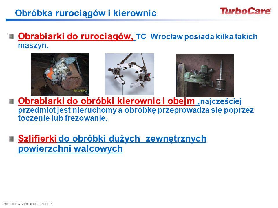 Privileged & Confidential – Page 27 Obrabiarki do rurociągów, TC Wrocław posiada kilka takich maszyn. Obrabiarki do obróbki kierownic i obejm, najczęś