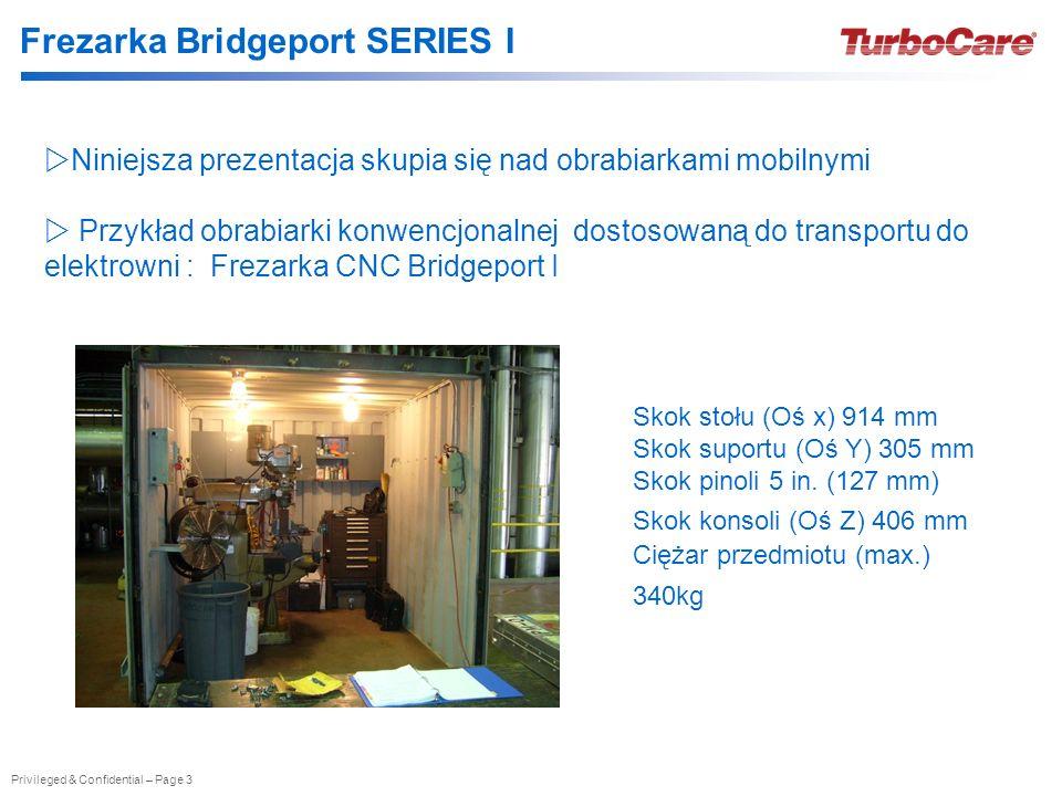 Privileged & Confidential – Page 3 Frezarka Bridgeport SERIES I Niniejsza prezentacja skupia się nad obrabiarkami mobilnymi Przykład obrabiarki konwen