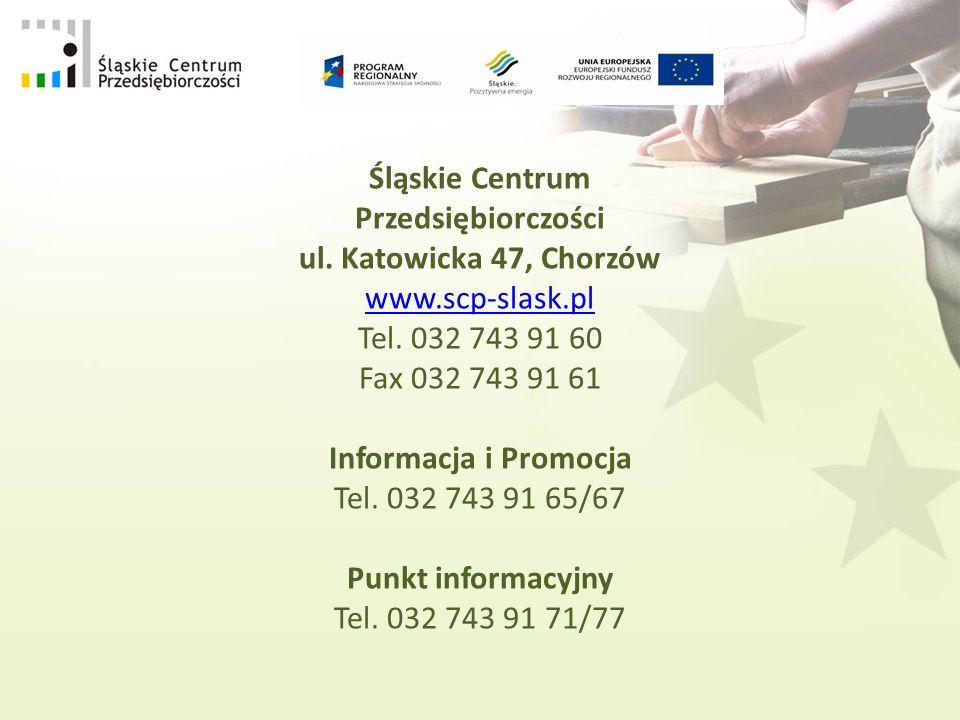 Śląskie Centrum Przedsiębiorczości ul. Katowicka 47, Chorzów www.scp-slask.pl Tel.