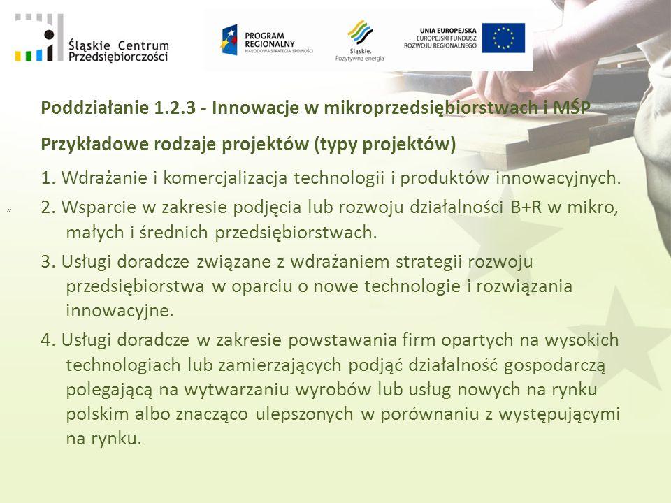 Poddziałanie 1.2.3 - Innowacje w mikroprzedsiębiorstwach i MŚP Przykładowe rodzaje projektów (typy projektów) 1.