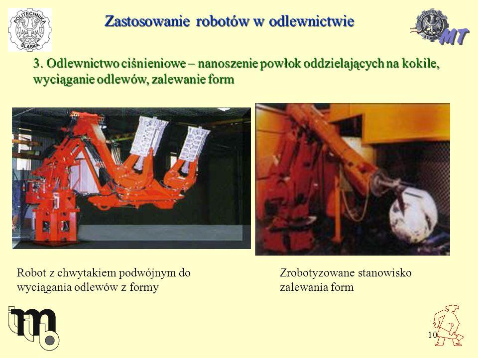 10 3. Odlewnictwo ciśnieniowe – nanoszenie powłok oddzielających na kokile, wyciąganie odlewów, zalewanie form Robot z chwytakiem podwójnym do wyciąga