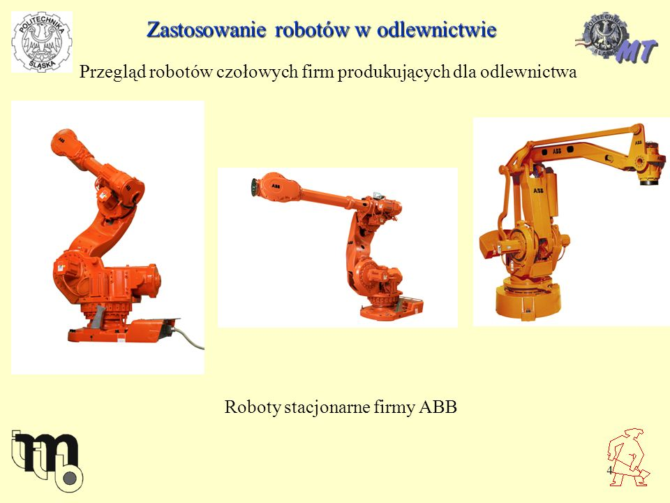 5 Zastosowanie robotów w odlewnictwie Przegląd robotów czołowych firm produkujących dla odlewnictwa Roboty stacjonarne firmy ABB, w środku robot portalowy