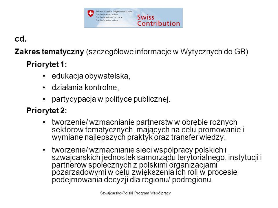 Szwajcarsko-Polski Program Współpracy Zakres tematyczny (szczegółowe informacje w Wytycznych do GB) Priorytet 1: edukacja obywatelska, działania kontrolne, partycypacja w polityce publicznej.