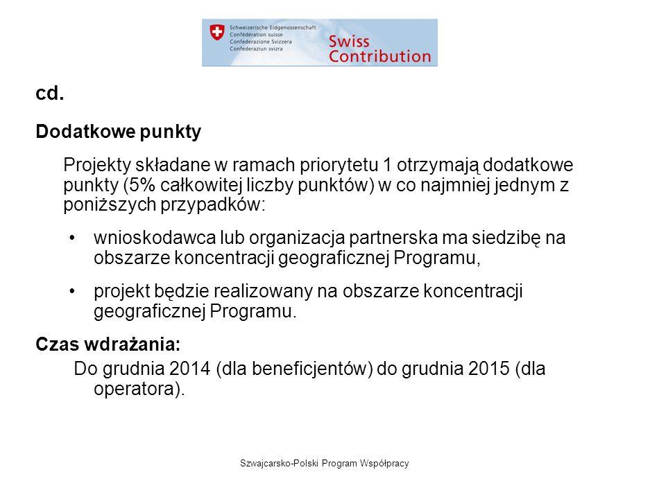 Szwajcarsko-Polski Program Współpracy Dodatkowe punkty Projekty składane w ramach priorytetu 1 otrzymają dodatkowe punkty (5% całkowitej liczby punktów) w co najmniej jednym z poniższych przypadków: wnioskodawca lub organizacja partnerska ma siedzibę na obszarze koncentracji geograficznej Programu, projekt będzie realizowany na obszarze koncentracji geograficznej Programu.