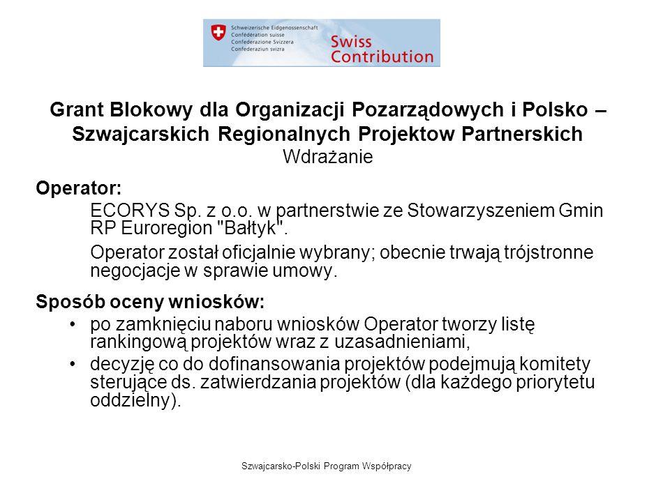 Szwajcarsko-Polski Program Współpracy Grant Blokowy dla Organizacji Pozarządowych i Polsko – Szwajcarskich Regionalnych Projektow Partnerskich Wdrażanie Operator: ECORYS Sp.