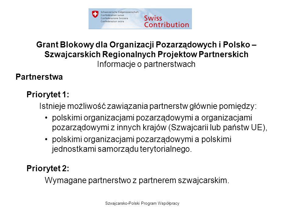 Szwajcarsko-Polski Program Współpracy Grant Blokowy dla Organizacji Pozarządowych i Polsko – Szwajcarskich Regionalnych Projektow Partnerskich Informacje o partnerstwach Partnerstwa Priorytet 1: Istnieje możliwość zawiązania partnerstw głównie pomiędzy: polskimi organizacjami pozarządowymi a organizacjami pozarządowymi z innych krajów (Szwajcarii lub państw UE), polskimi organizacjami pozarządowymi a polskimi jednostkami samorządu terytorialnego.