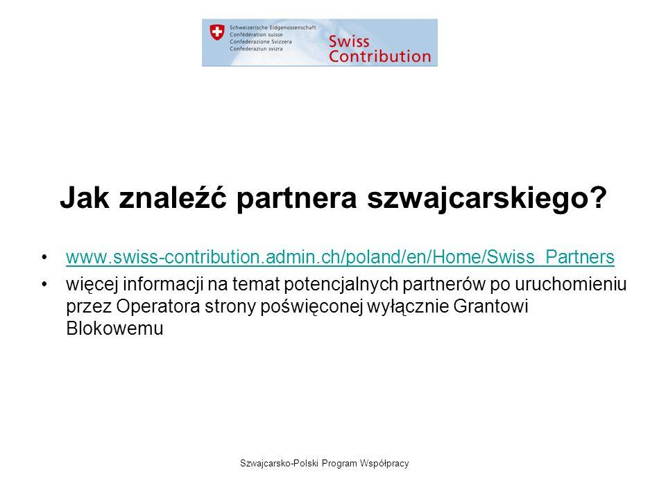 Szwajcarsko-Polski Program Współpracy Jak znaleźć partnera szwajcarskiego.