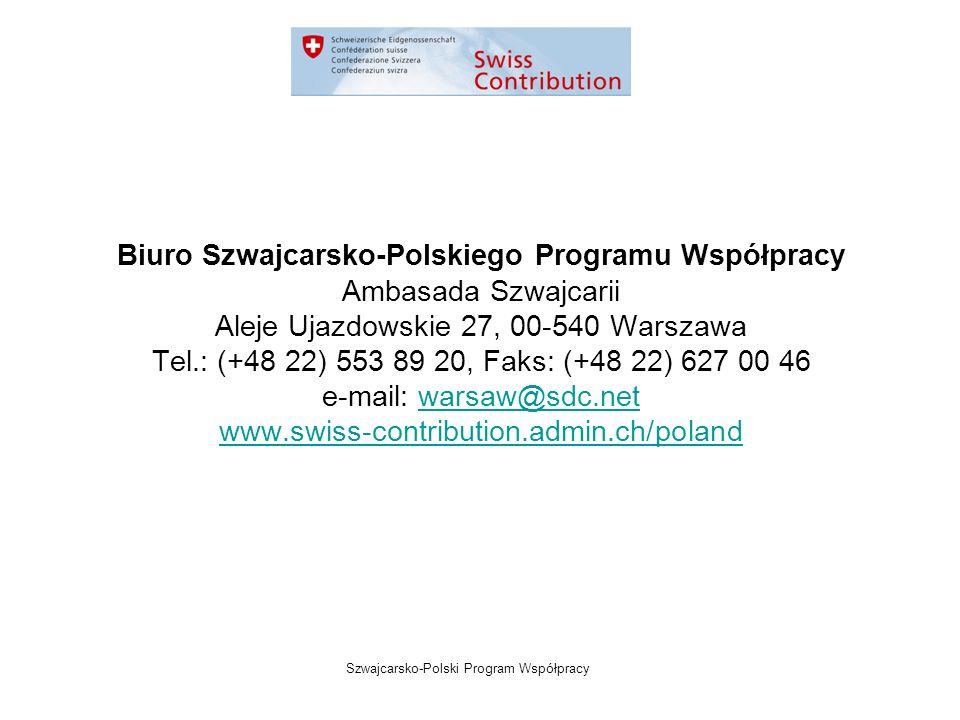Szwajcarsko-Polski Program Współpracy Biuro Szwajcarsko-Polskiego Programu Współpracy Ambasada Szwajcarii Aleje Ujazdowskie 27, 00-540 Warszawa Tel.: (+48 22) 553 89 20, Faks: (+48 22) 627 00 46 e-mail: warsaw@sdc.netwarsaw@sdc.net www.swiss-contribution.admin.ch/poland