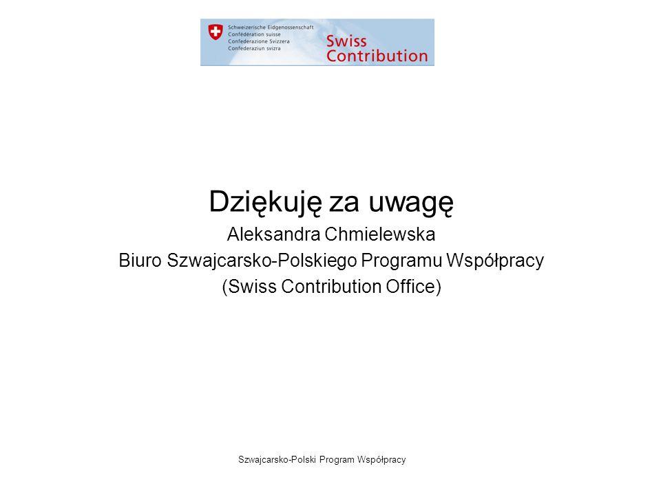 Szwajcarsko-Polski Program Współpracy Dziękuję za uwagę Aleksandra Chmielewska Biuro Szwajcarsko-Polskiego Programu Współpracy (Swiss Contribution Office)